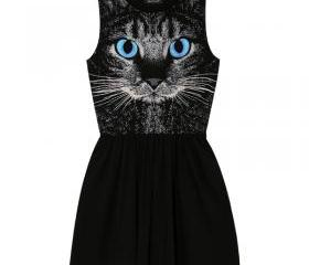 [grhmf26000120]Fashion Cat Punk Sleeveless Vest Dress