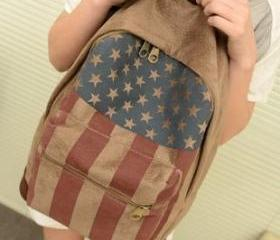 [grhmf2200049]Vintage American Flag Canvas Backpack