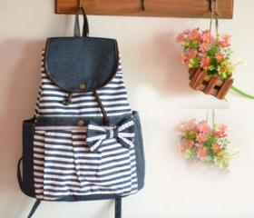 [grhmf2200051]Vintage Navy Striped Bow Backpack
