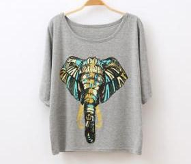 [grhmf26000157]Fashion Elephant Floral Round Neck Short Sleeve T-shirt