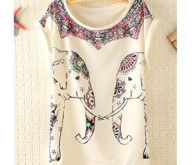 [grhmf26000158]Fashion Elephants Batwing Sleeve T-shirt