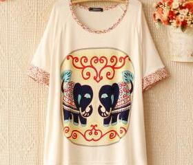 [grhmf26000159]Little Flower Sleeves Elephant Loose T-shirt