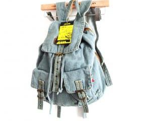 Leisure European Style Blue Denim Backpack - Light Blue [grhmf22000107]