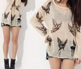 Punk Style Loose Fitting Frayed Butterfly Print Shirt - Apricot [grhmf260002081]