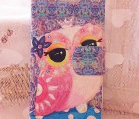 Nice Owl Leather Case Flip Wallet for Iphone 5