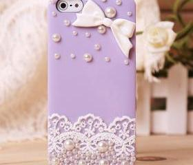 Lace Bow Pearl Rhinestone Hard Cover Case For Iphone 4/4s