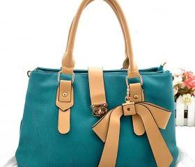 [grhmf2200046]Nice Green Buckle Bow Handbag