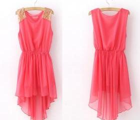 [grhmf2600060]Sleeveless Chiffon Featuring Sequin Dress