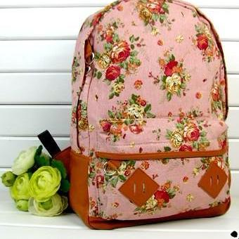 Fashion Vintage Cute Flower Schoolbag Campus Bag Backpack -pink on ...